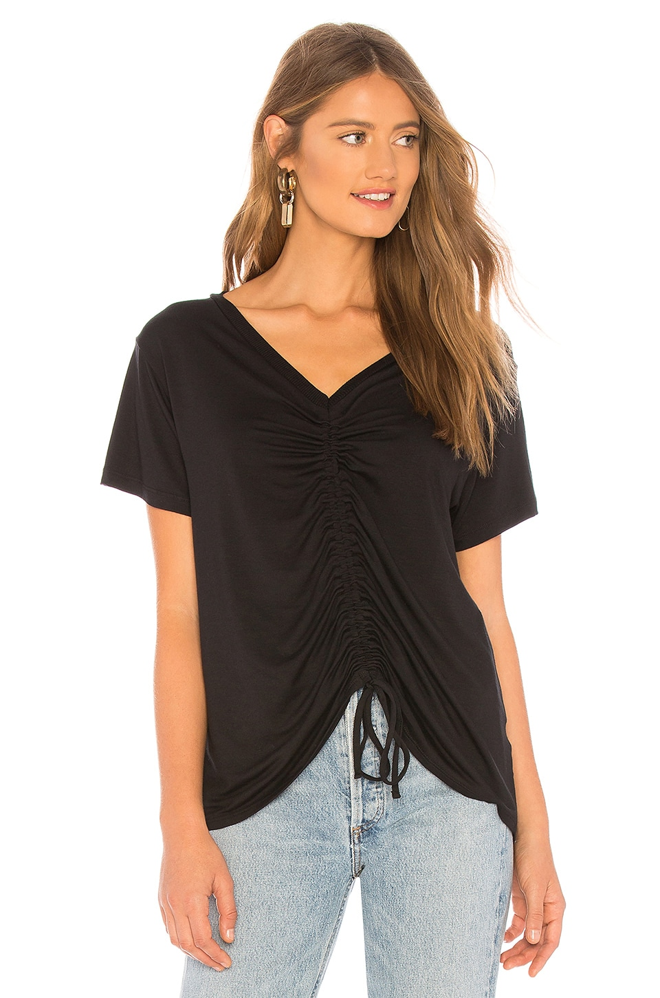 LNA Casey Ruched Drawstring Tee in Black