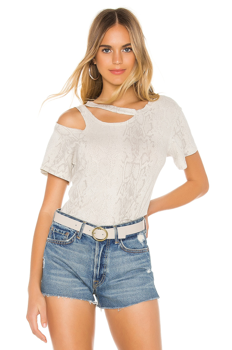 LNA Snakeskin Double Cut Out Tee in White Snake