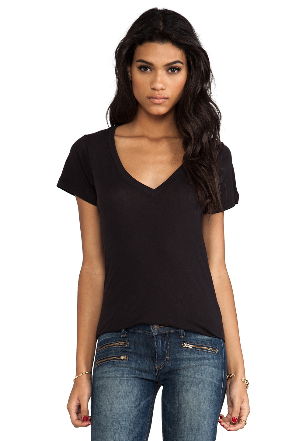 LNA Deep V Tee in Black