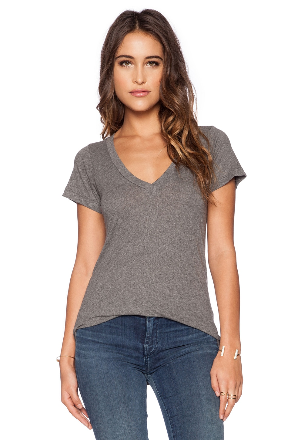 LNA Short Sleeve Deep V Tee in Heather Grey