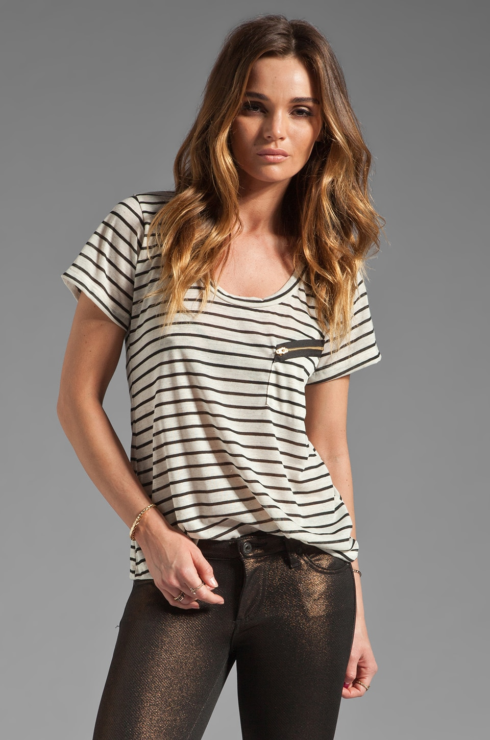 LNA Slant Zipper Pocket Tee in Black/Natural Stripe
