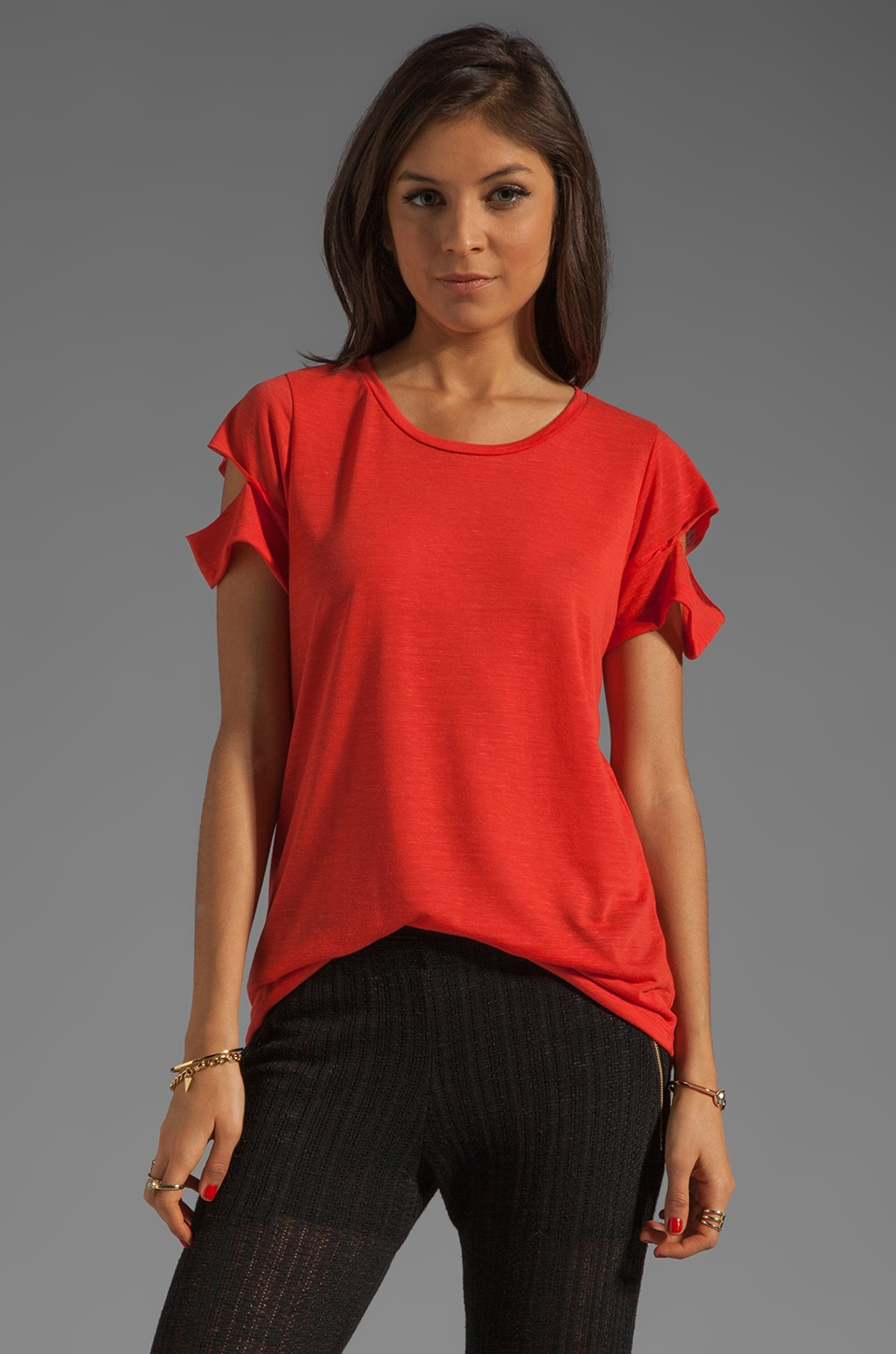 LNA Del Cut-Out Tee in Terracotta