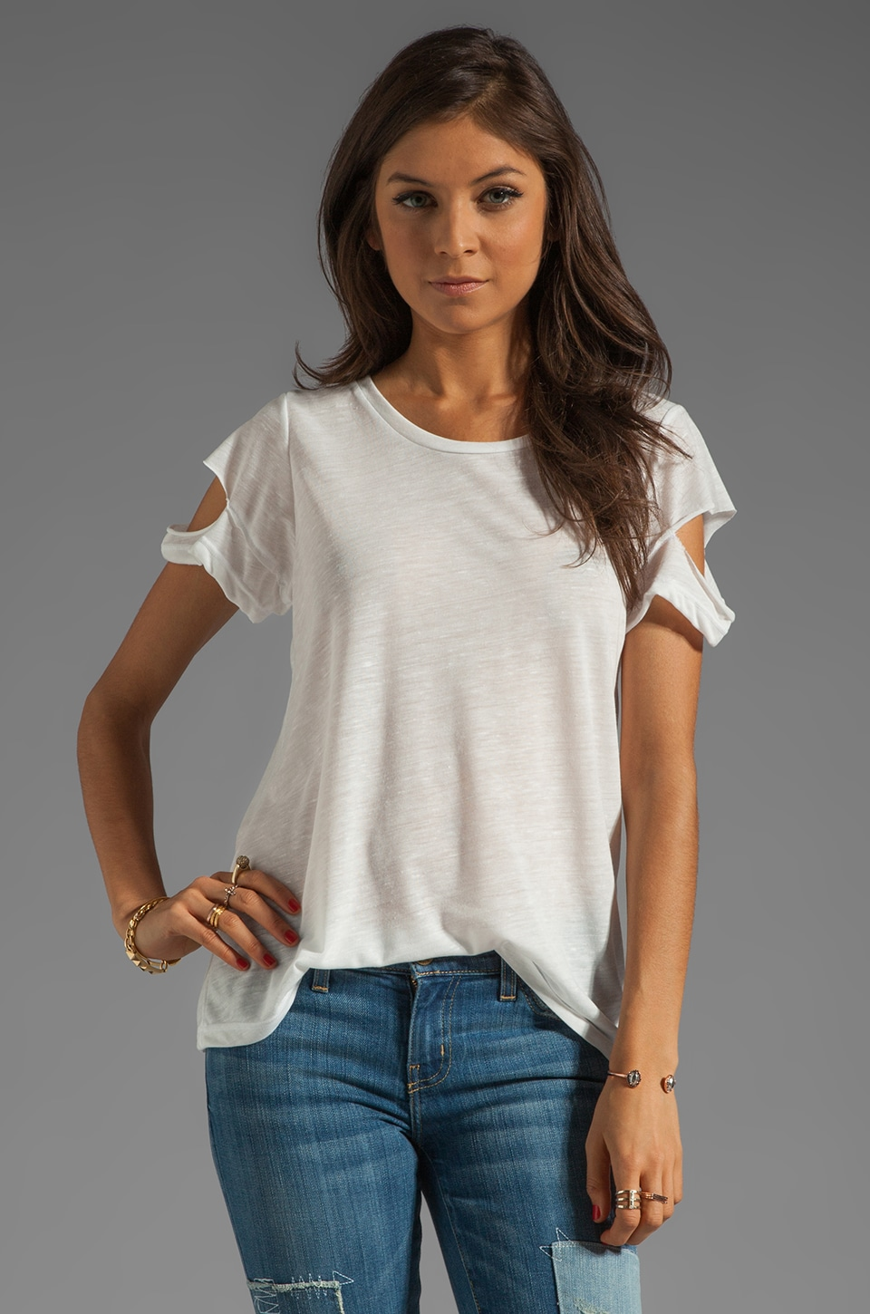 LNA Del Cut-Out Tee in Natural