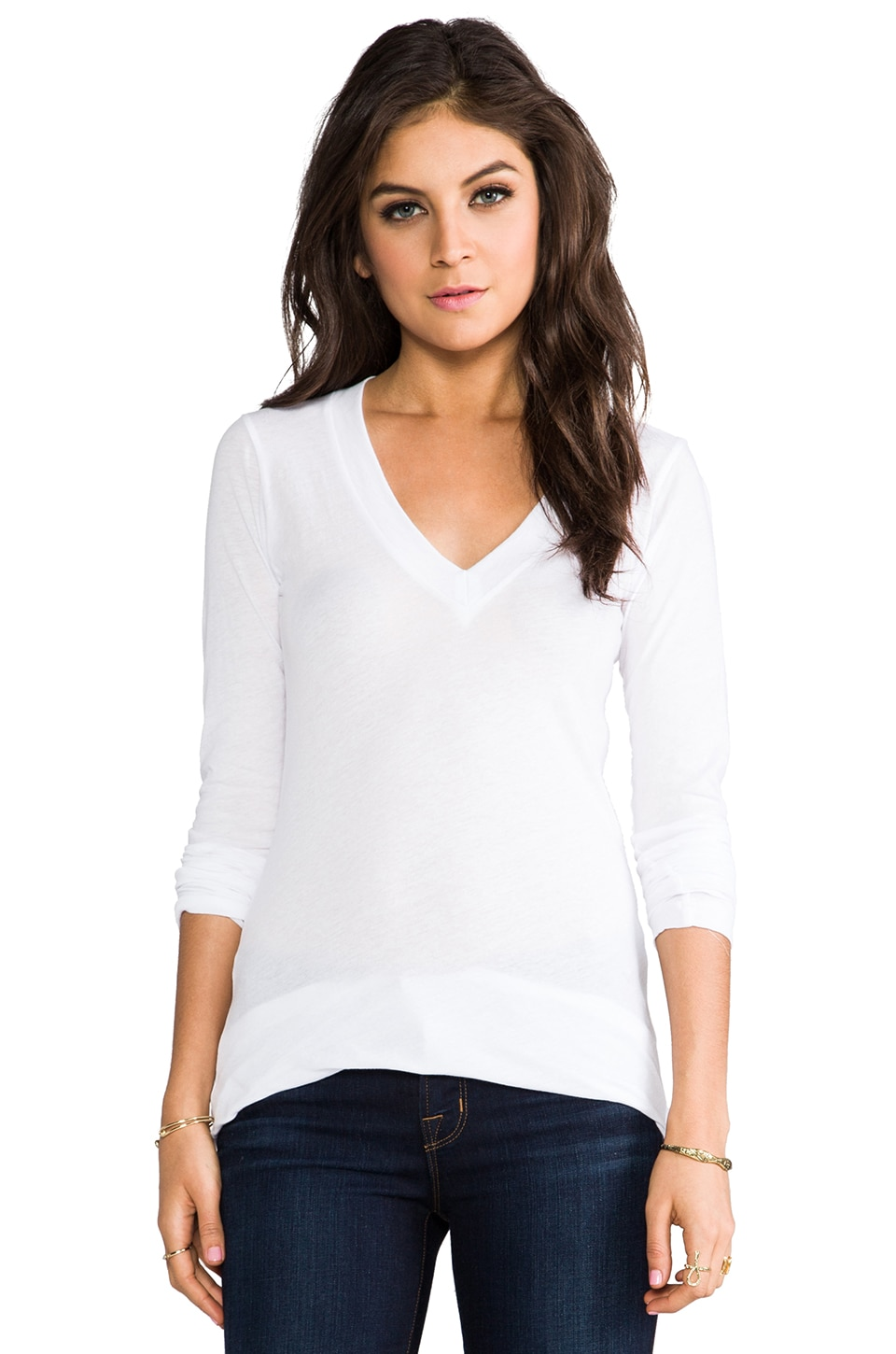 LNA Long Sleeve V Tee in White