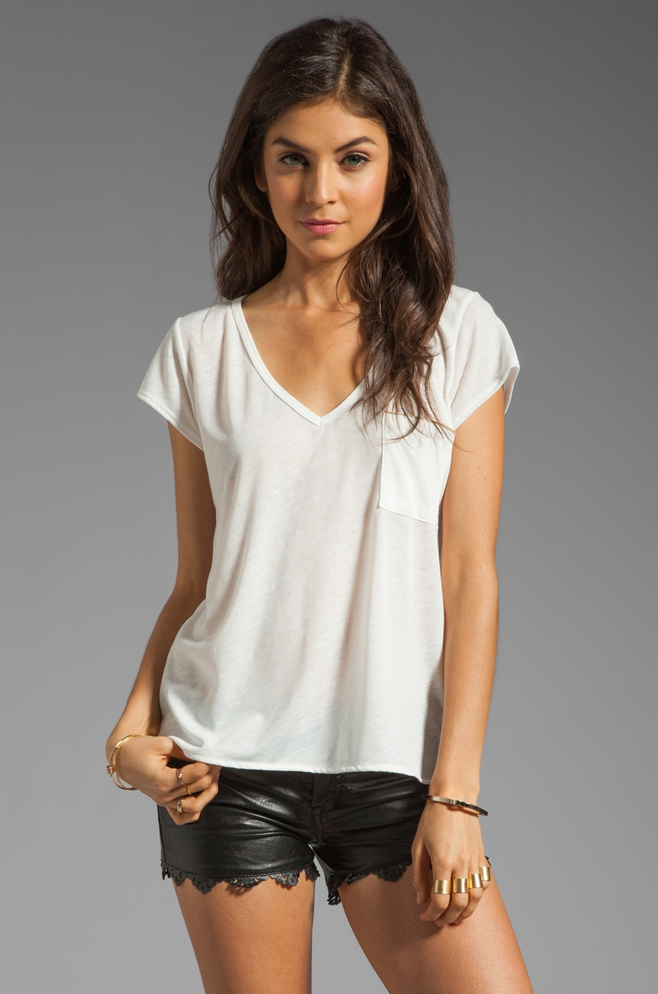LNA Highway Zip Tee in Natural