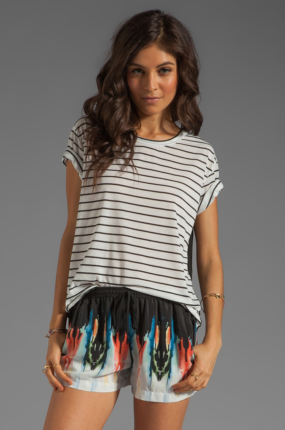 LNA Willow Top in White/Black Stripe