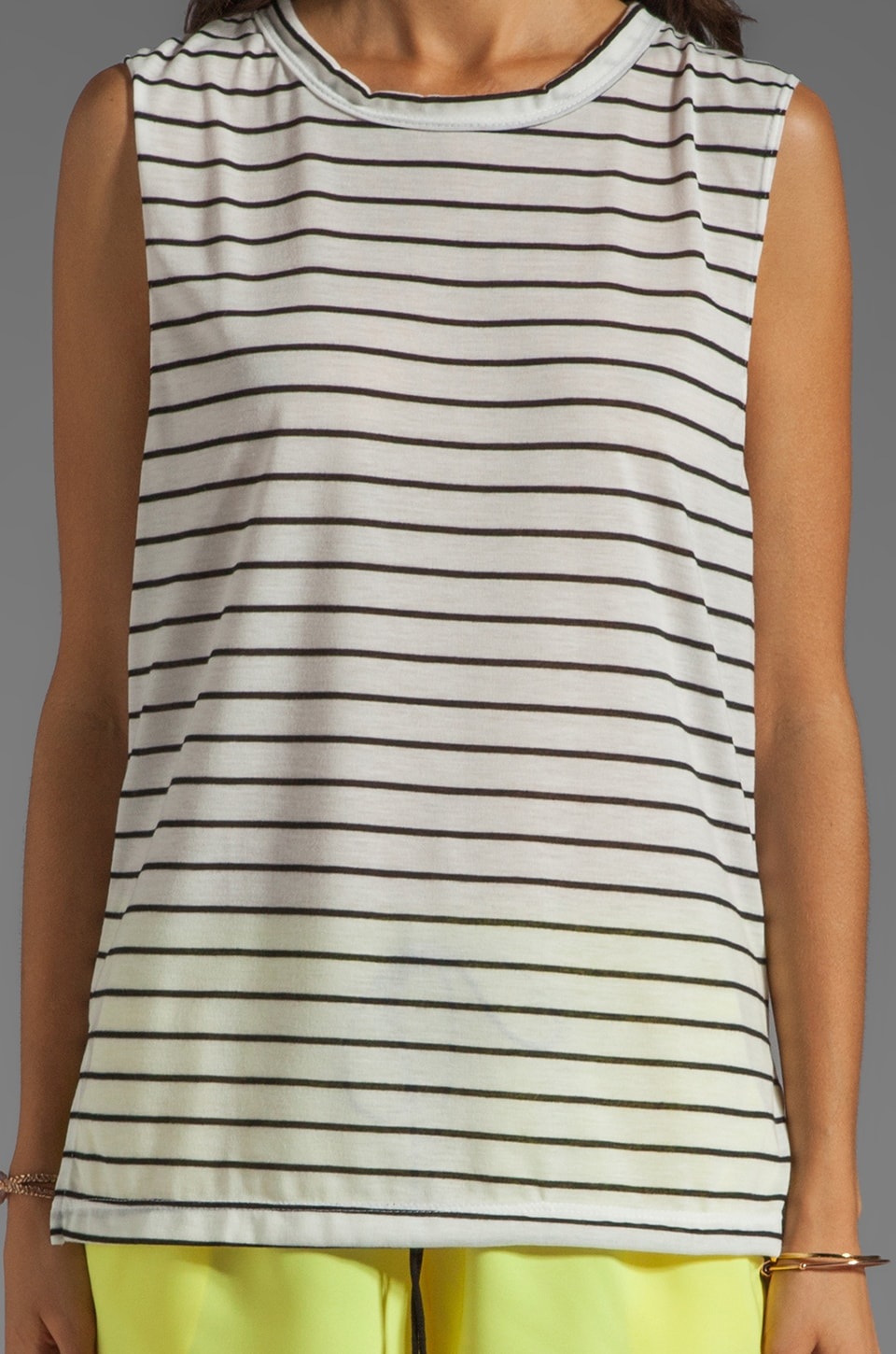 LNA Ruby Tank in White/Black Stripe