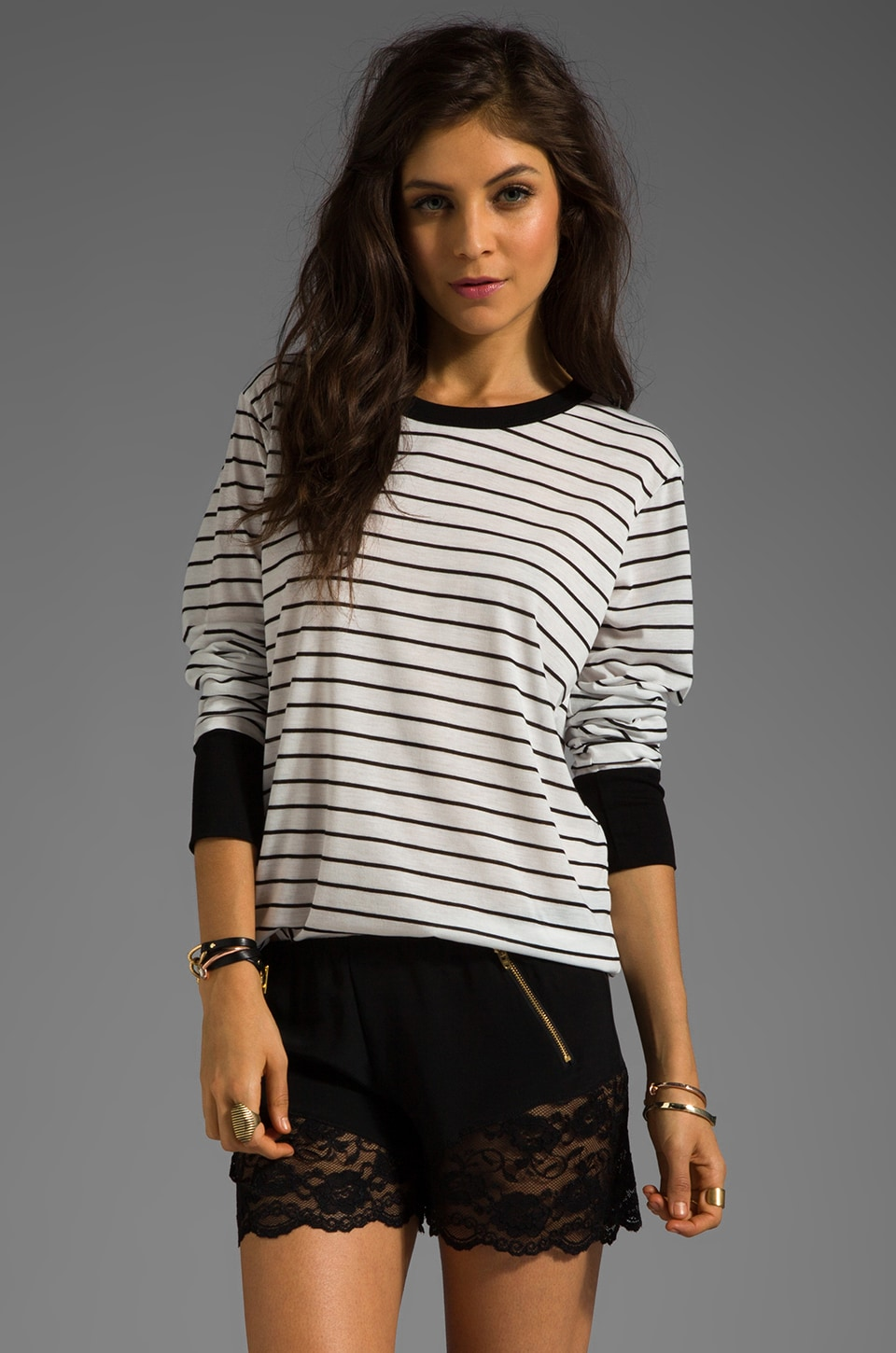 LNA Sandy Long Sleeve Tee in White/Black Stripe