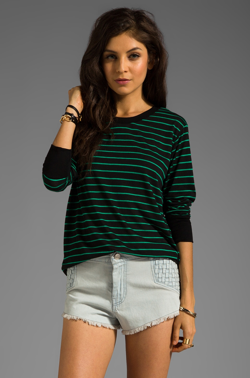 LNA Sandy Long Sleeve Tee in Black/Green Stripe