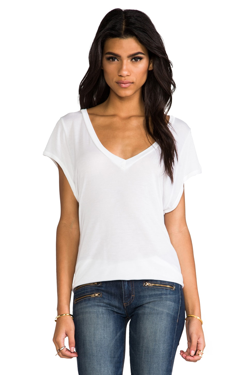 LNA Classic Cap Sleeve Deep V in White
