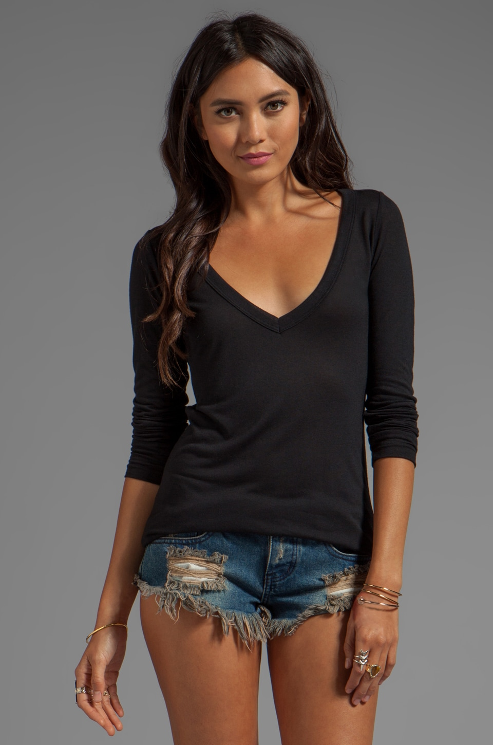 LNA Classic Long Sleeve Deep V in Black