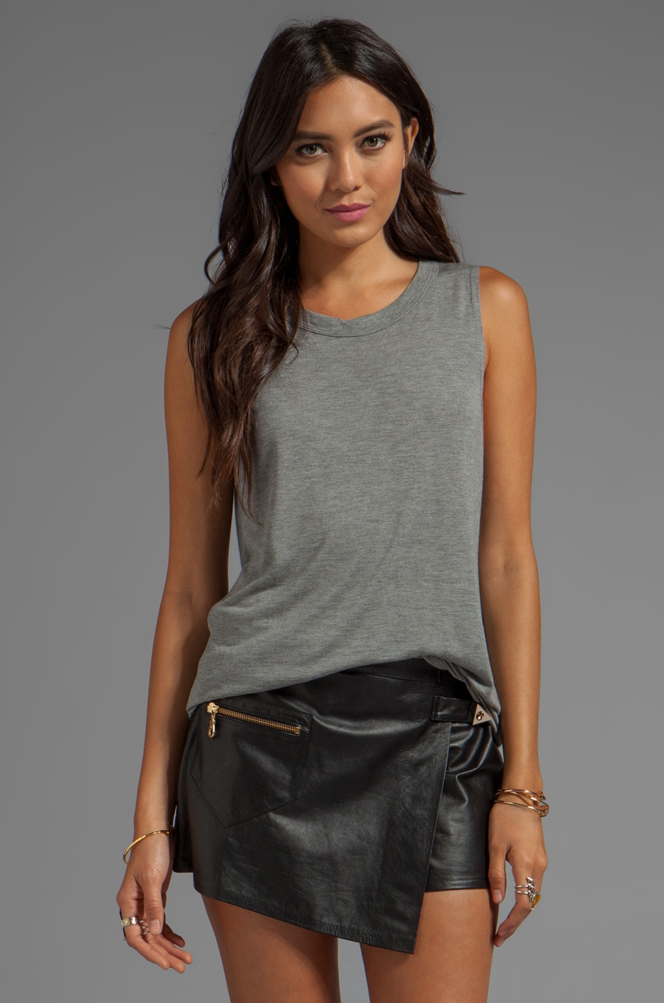 LNA Boyfriend Tank in Heather Grey