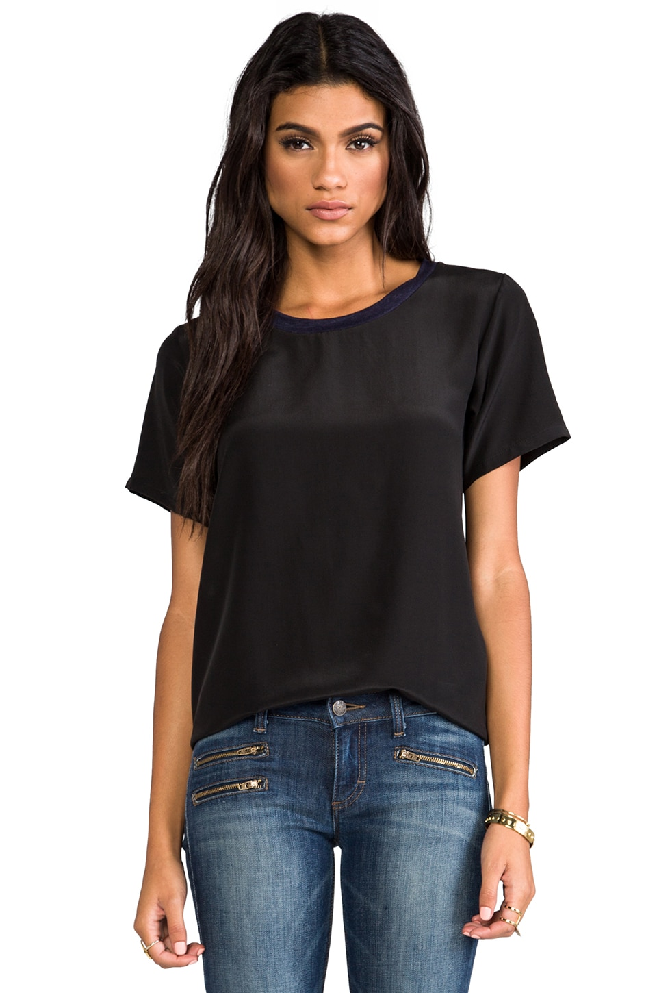 LNA Relayed Silk Tee in Black/Navy