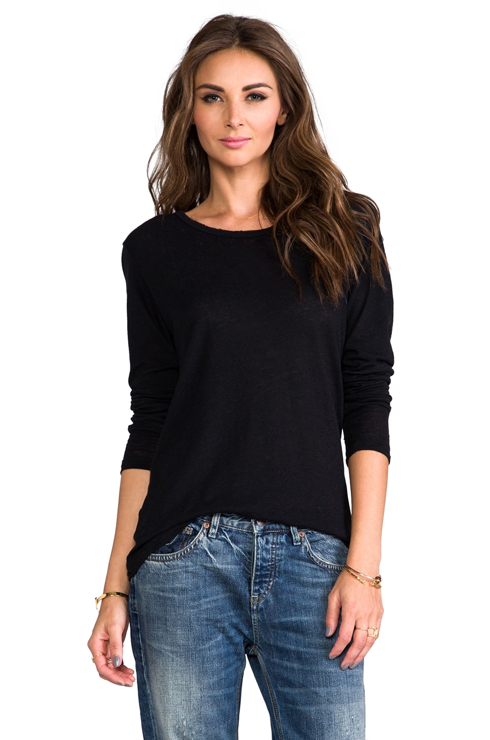 LNA Distressed Long Sleeve Tee in Black