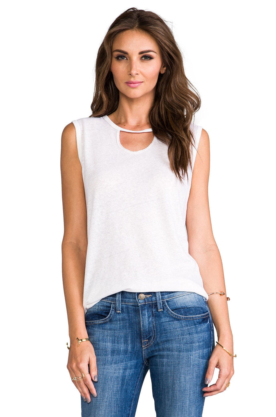 LNA Mosshart Sleeveless in White