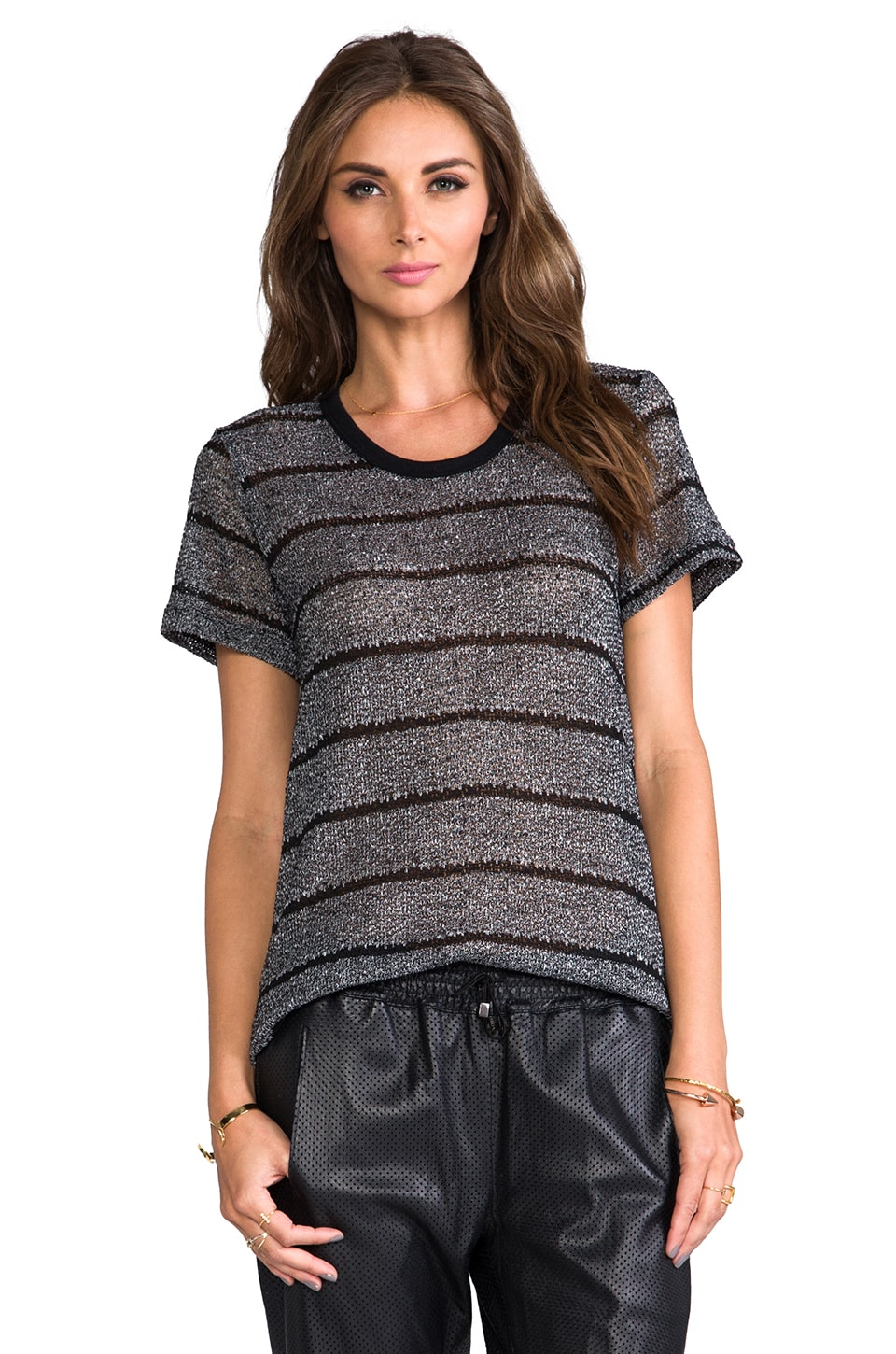 LNA La Jolla Top in Grey/Black