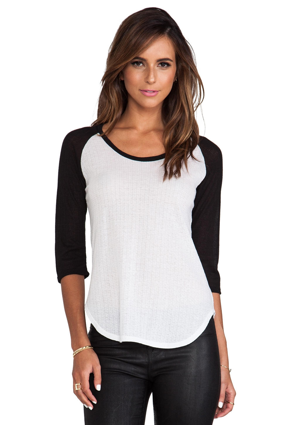LNA Pointelle Baseball Tee in White & Black Sleeves