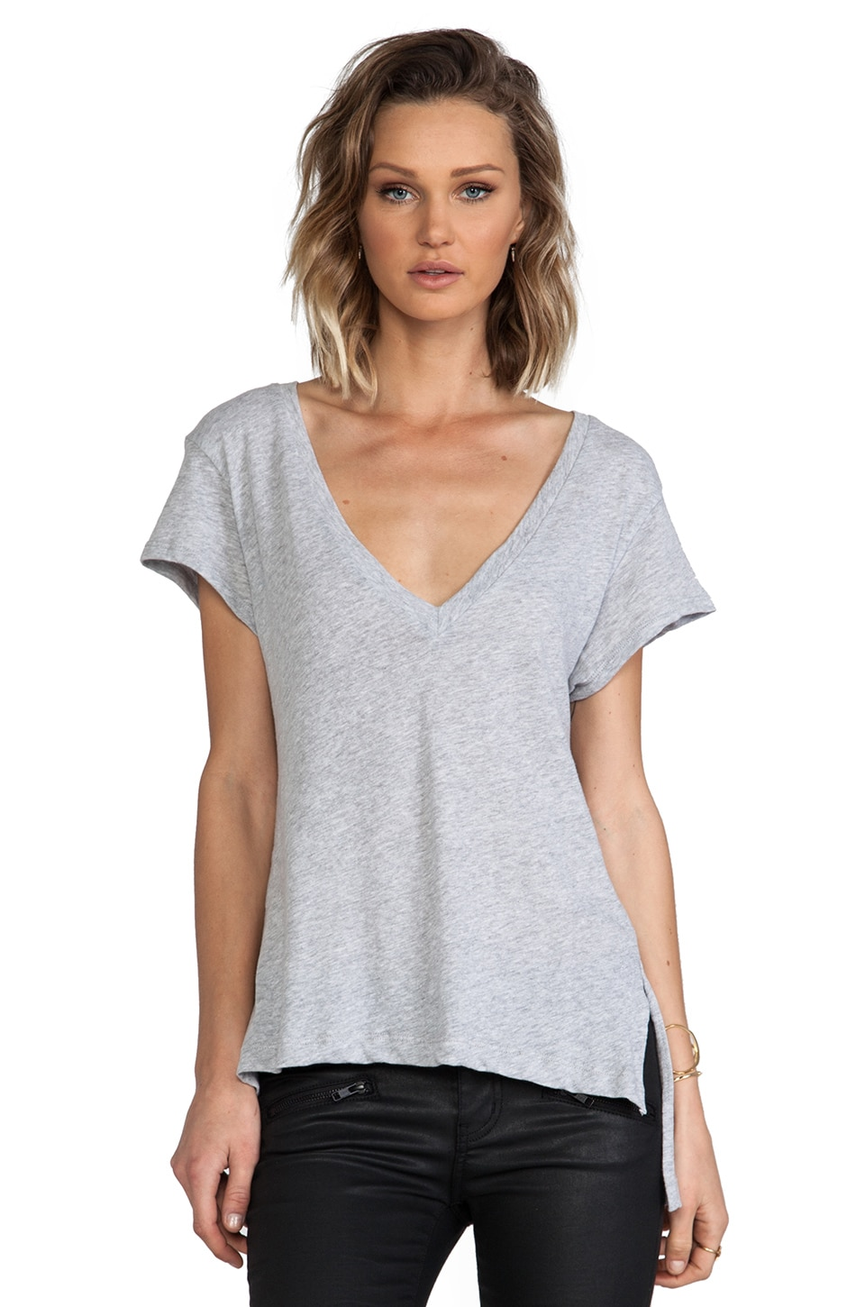 LNA Carmen V Neck in Heather Grey