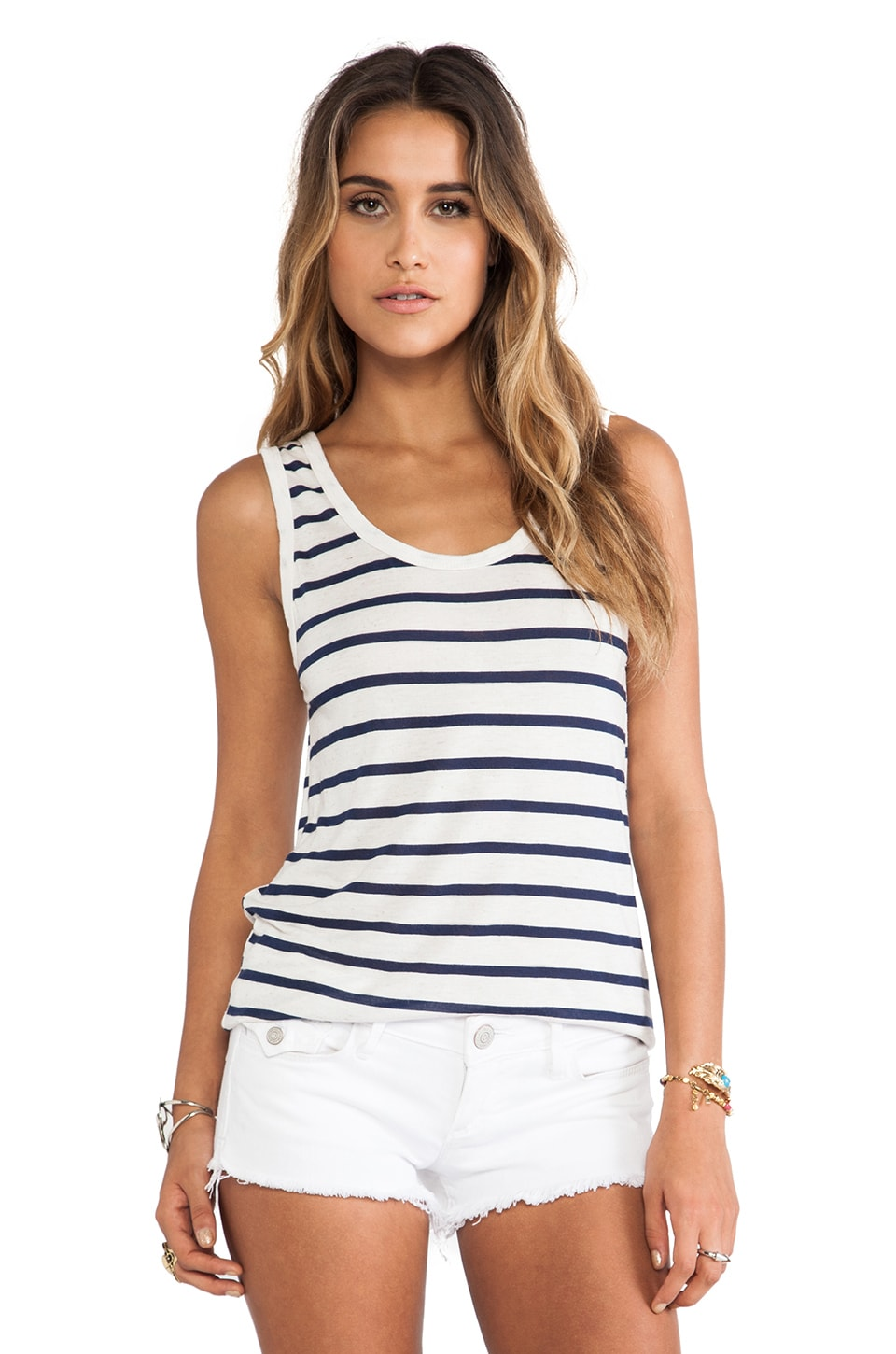 LNA Bondi Tank in Natural & Navy Stripe