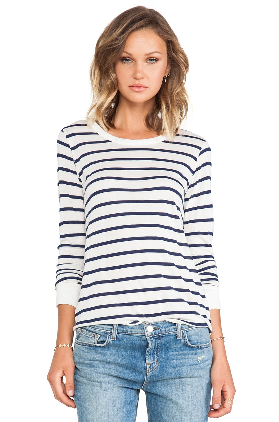LNA Nielson Long Sleeve Top in Natural/Navy