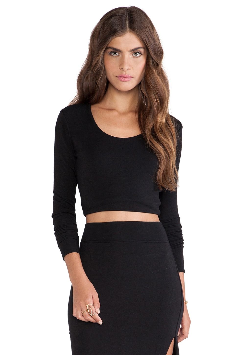 LNA Glasson Crop Top in Black