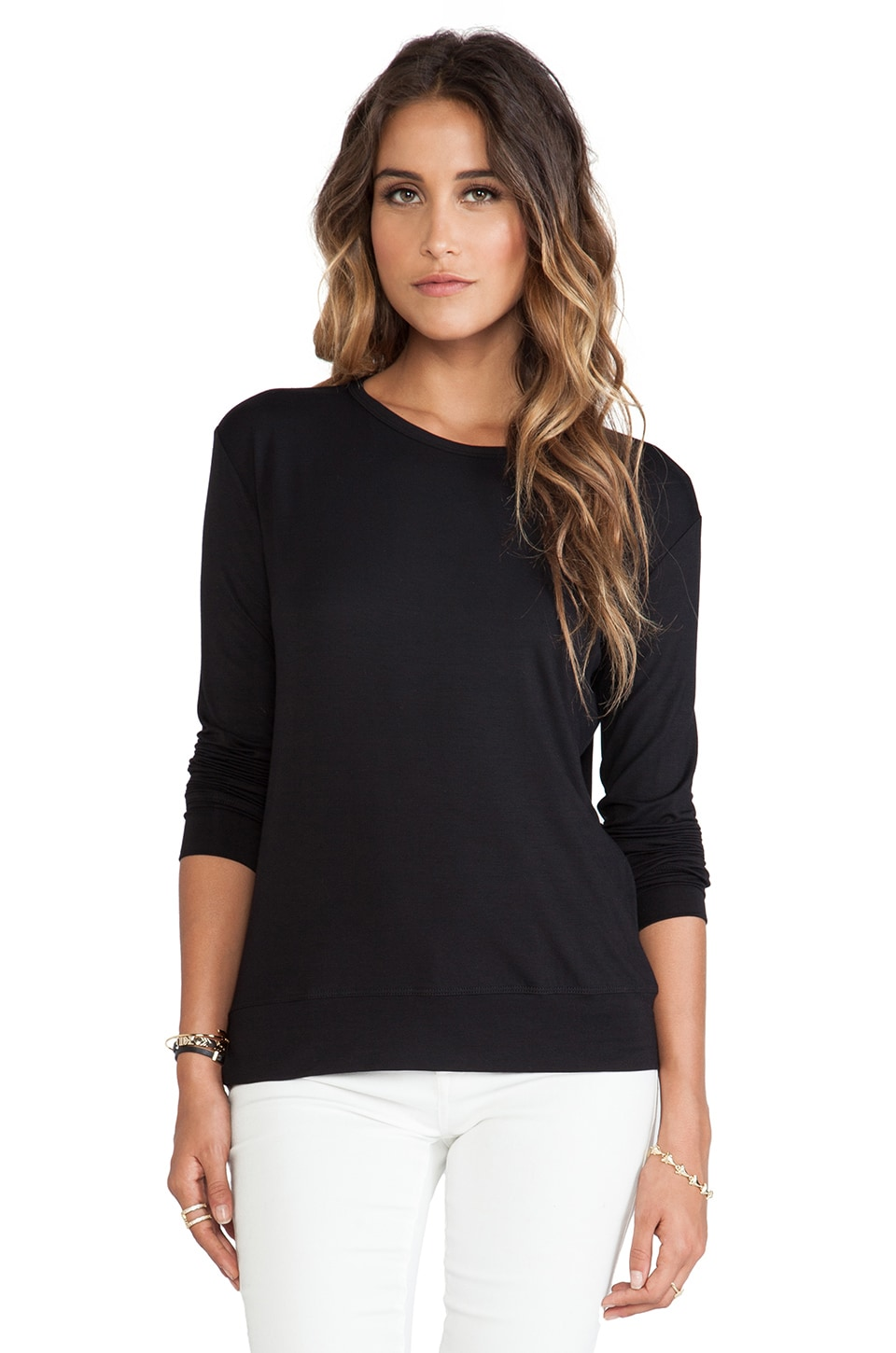LNA Hayden Long Sleeve Top in Black