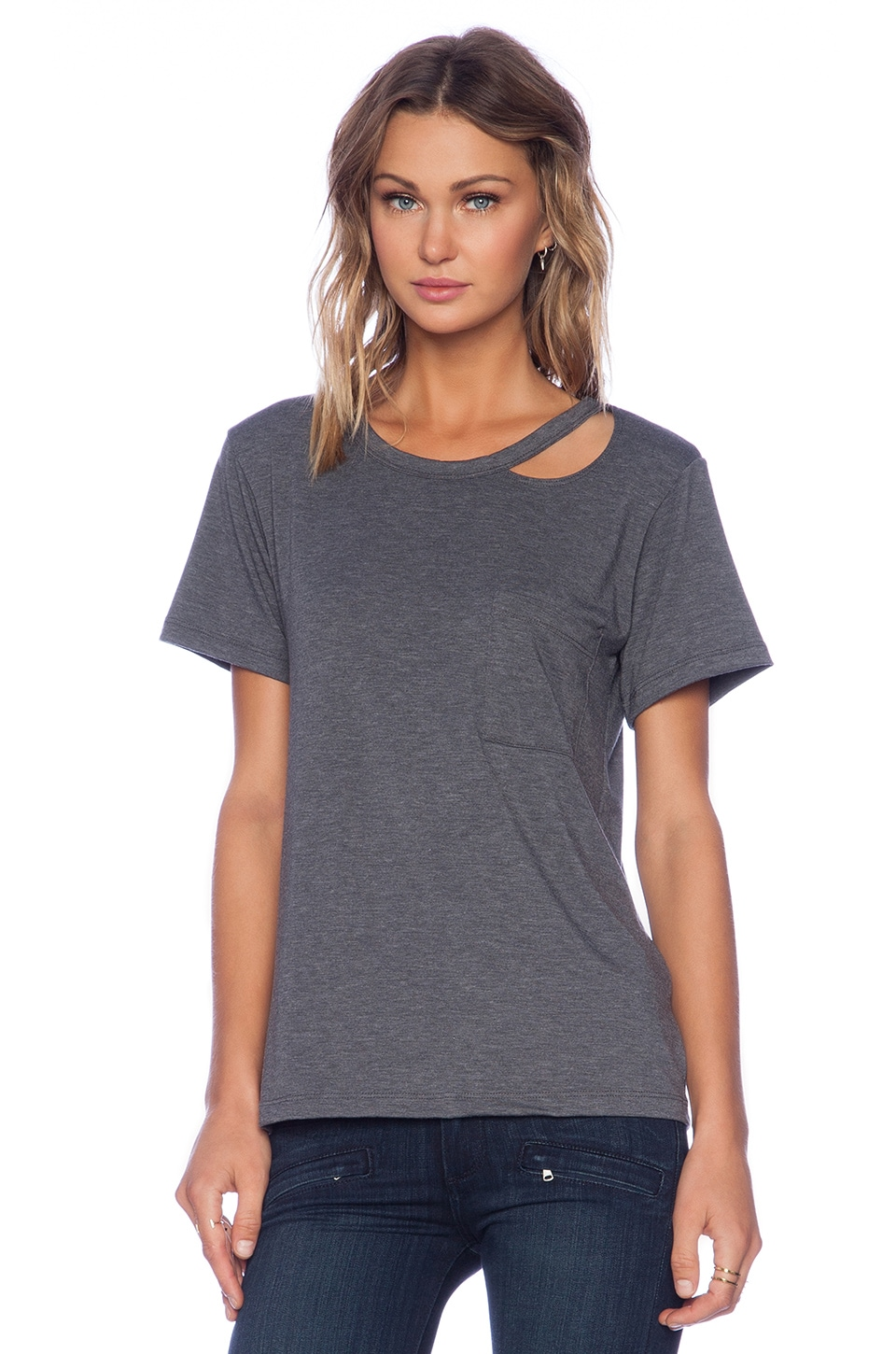 LNA Twin Palms Tee in Dark Heather Grey
