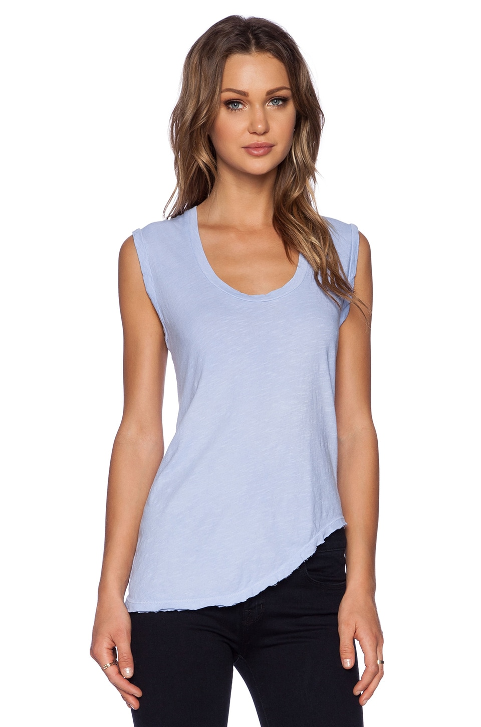 LNA Deep U Neck Tank in 80's Blue