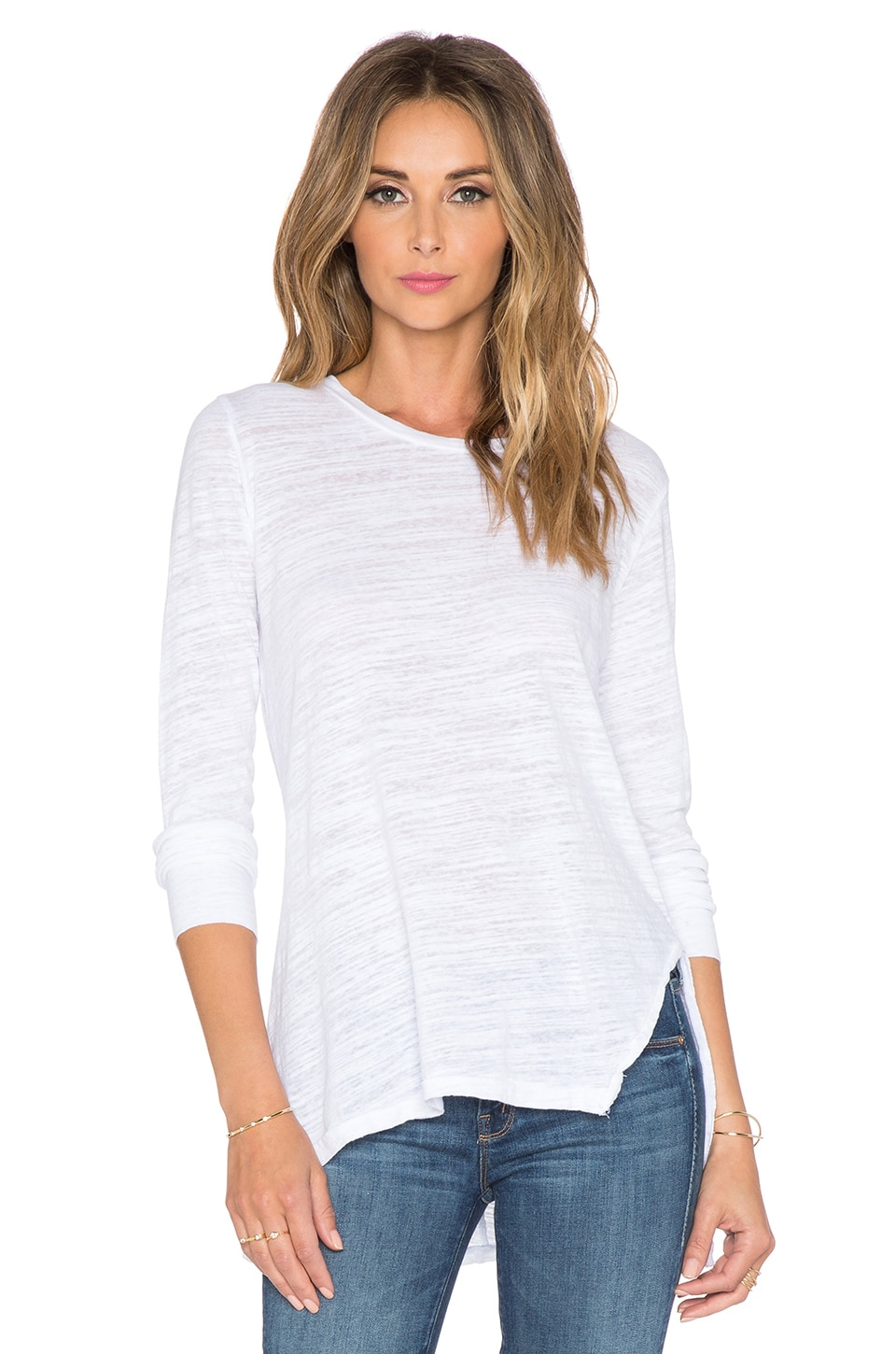 LNA Ara Long Sleeve Tee in White
