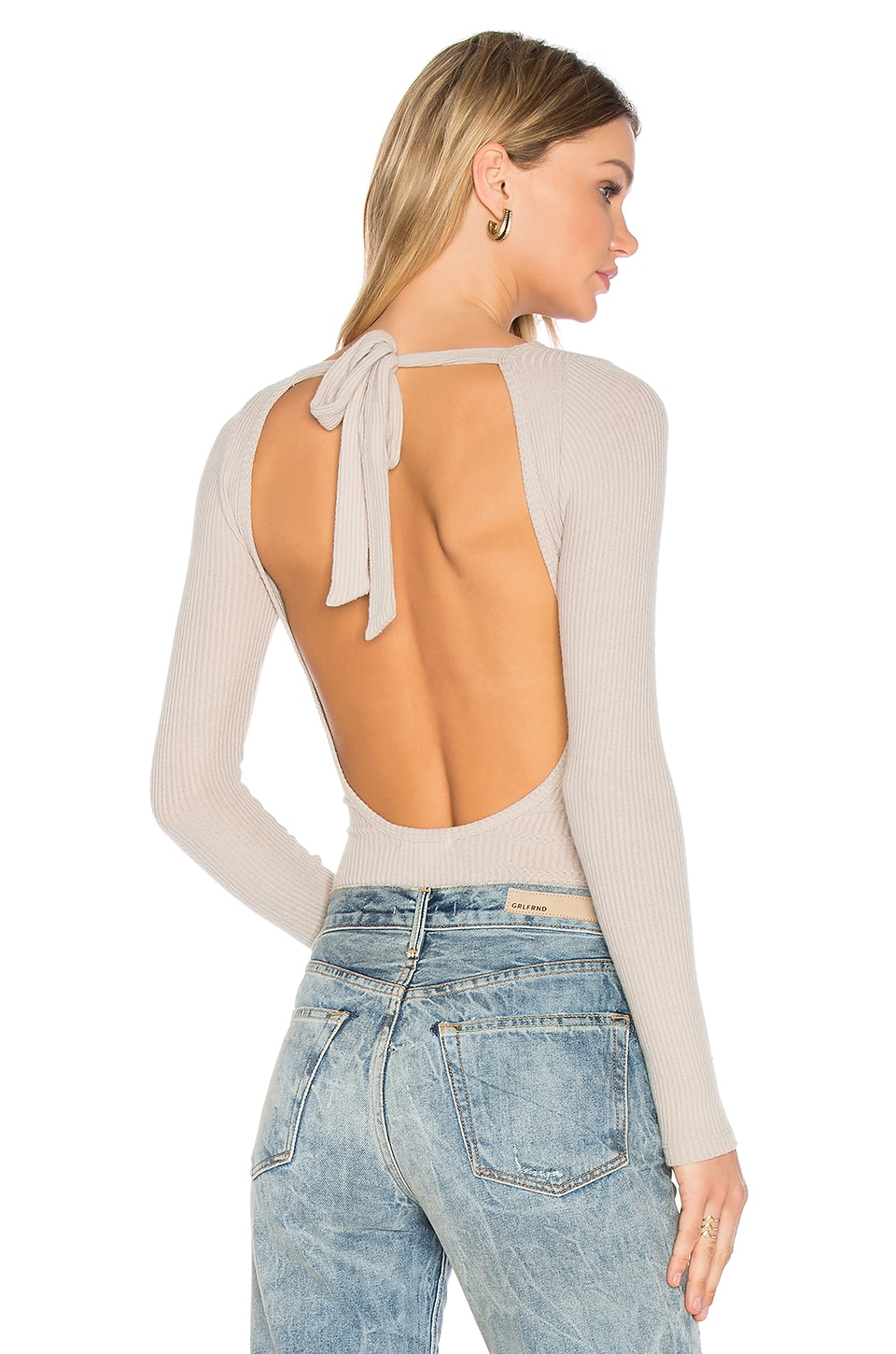 LNA Tie Back Bodysuit in Oat