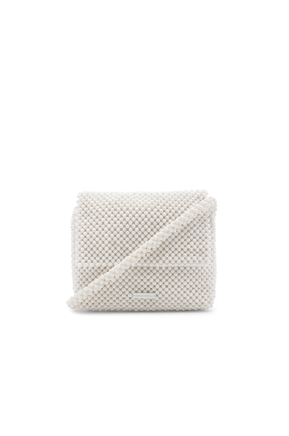 Loeffler Randall Roz Beaded Shoulder Bag in Optic White