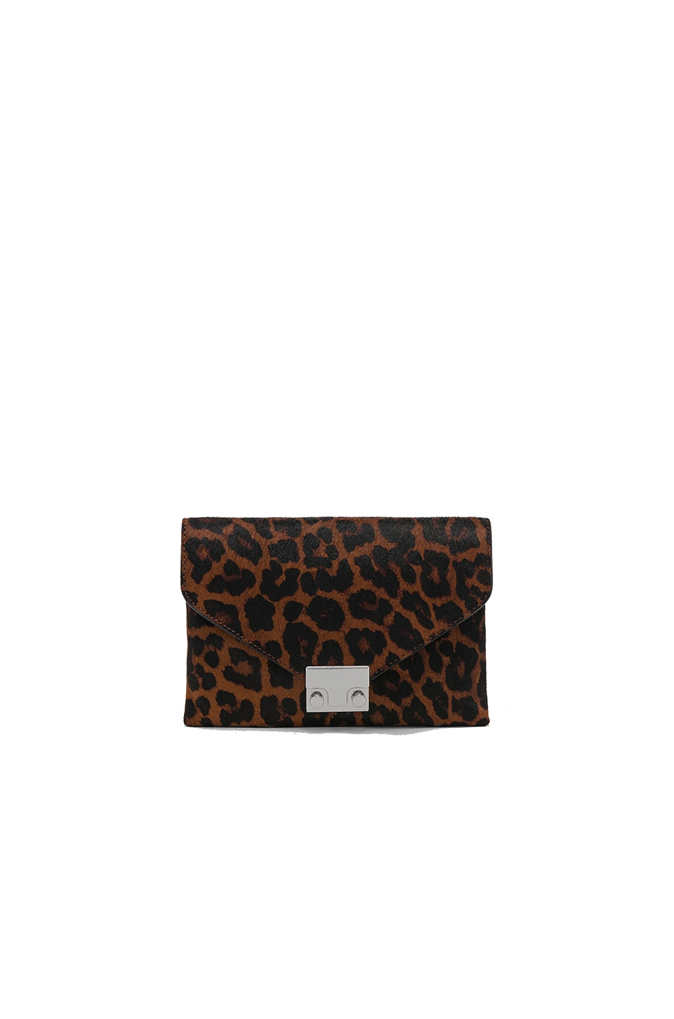 Loeffler Randall Jr Lock Calf Hair Clutch in Leopard