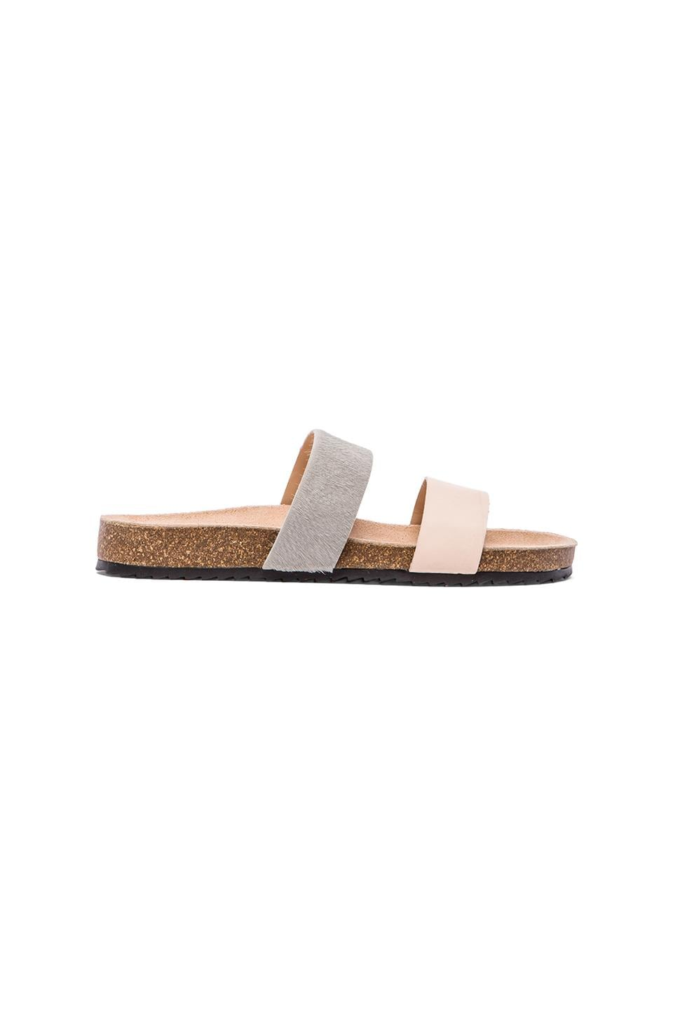 Loeffler Randall Paz Sandal with Calf Fur in New Natural/Cool Grey