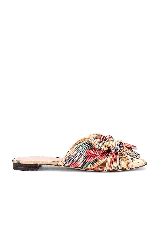 Loeffler Randall Daphne Knot Flat Sandal in Butter Multi Floral