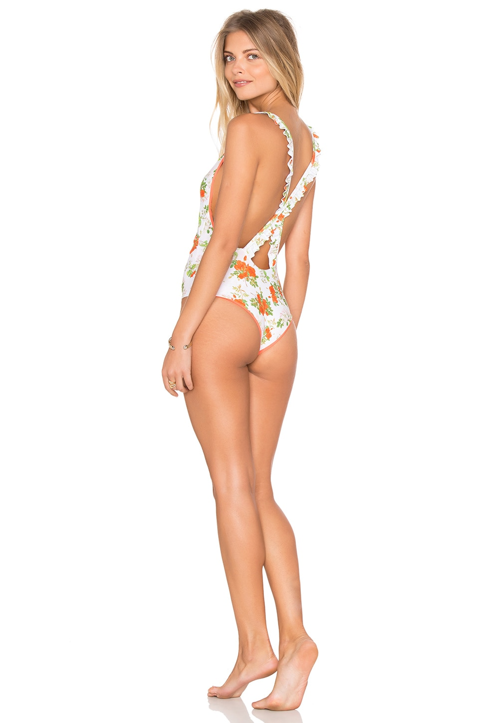 lolli swim Morning Wrap Ruffle One Piece in Rosey