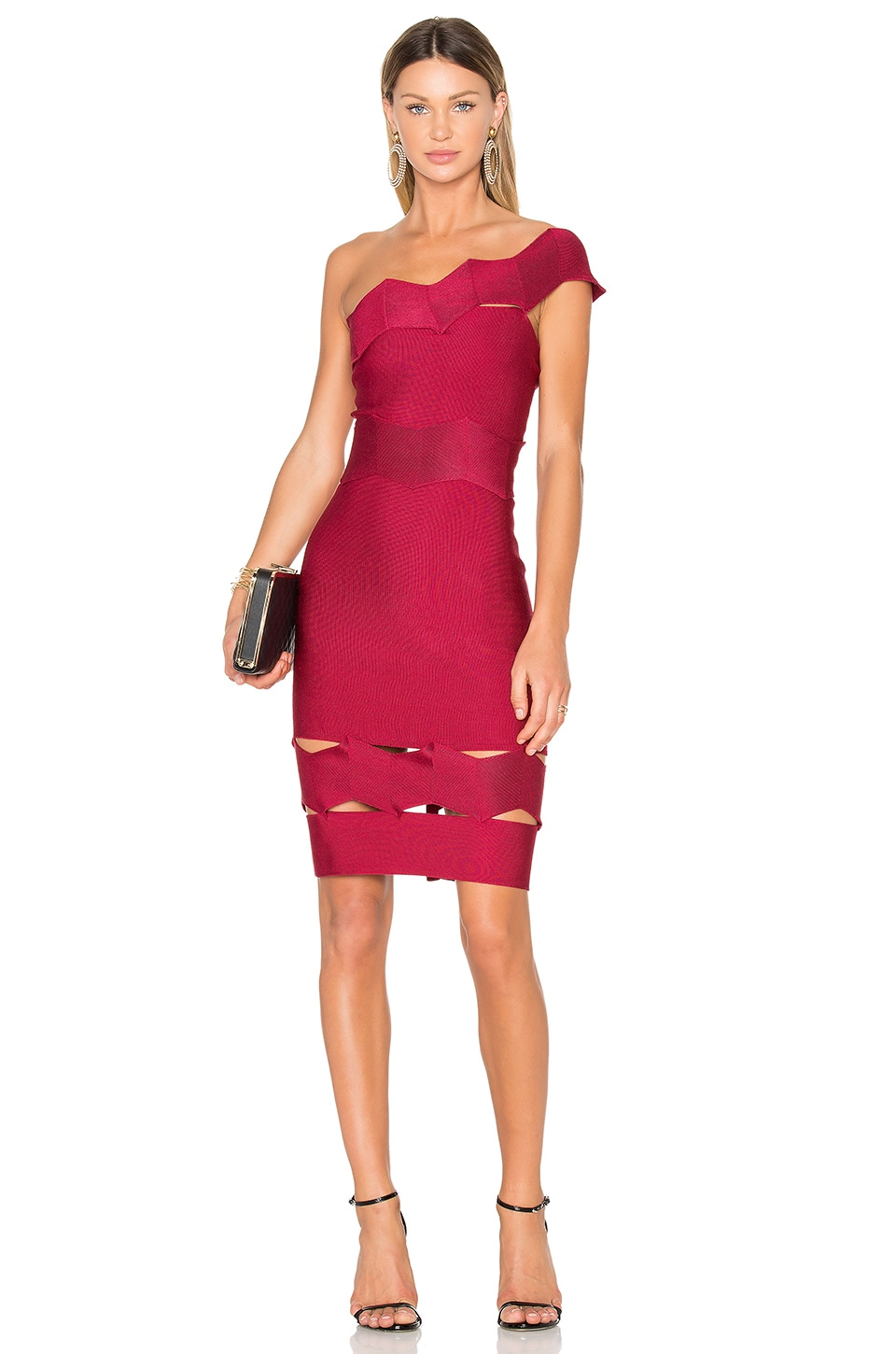 LOLITTA Livia One Shoulder Fitted Dress in Cereja