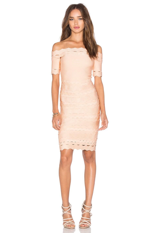 LOLITTA Bandage Off Shoulder Mini Dress in Nude