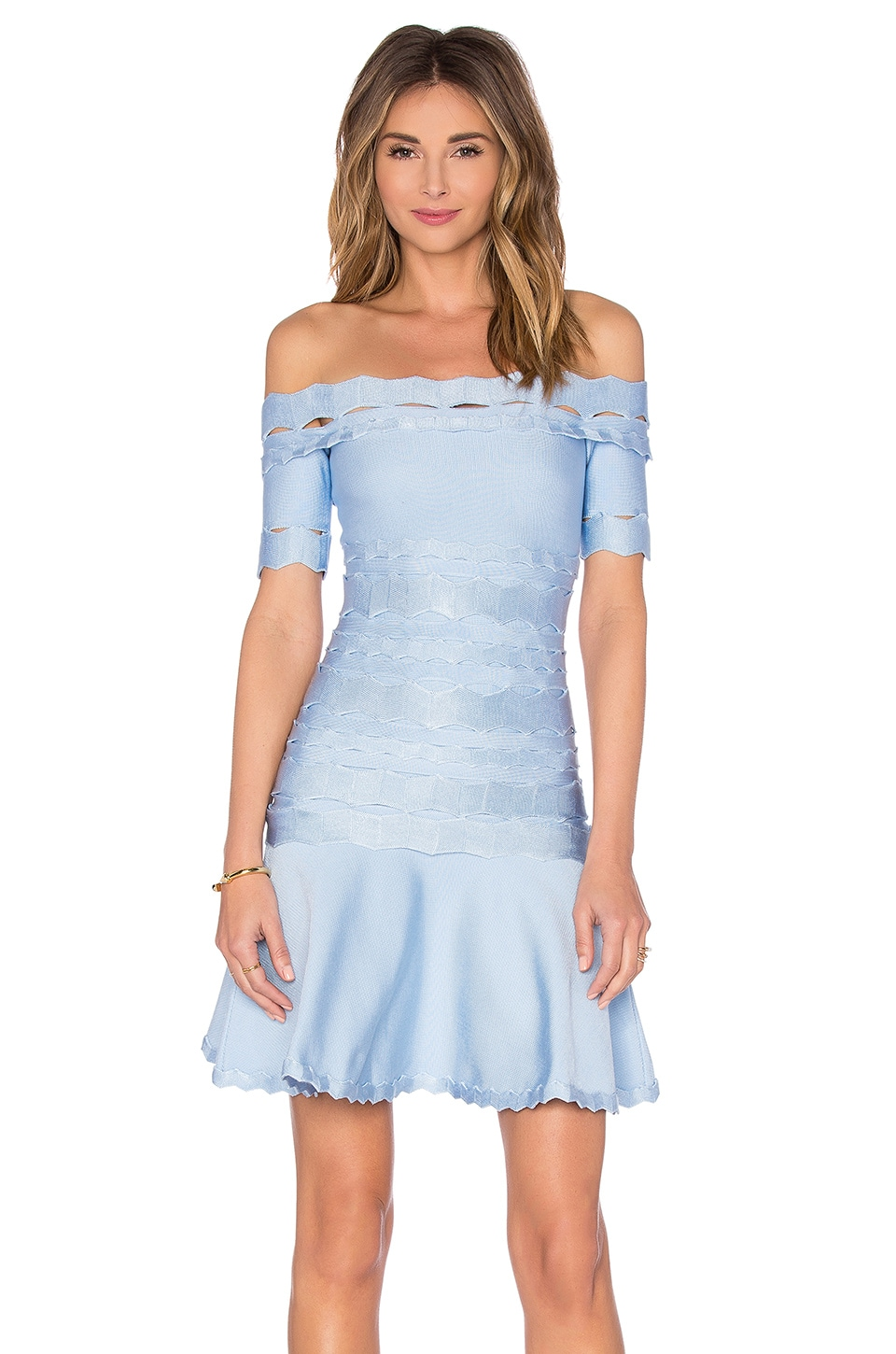 LOLITTA Squiggle Detail Flare Mini Dress in Light Blue