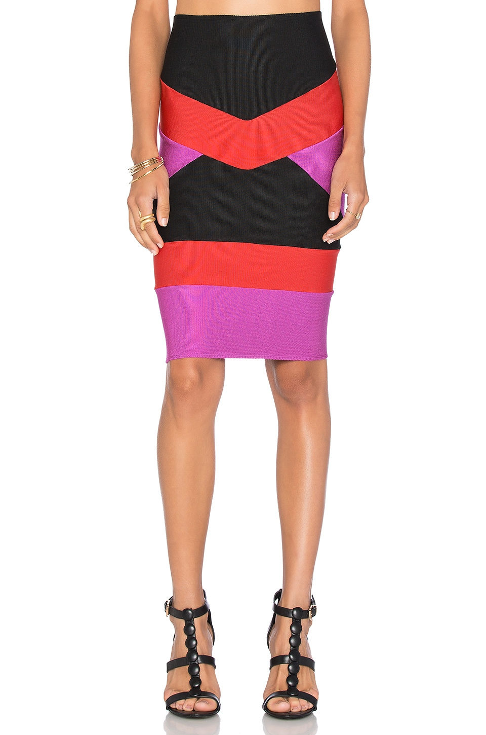 LOLITTA Bandage Tri Color Mini Skirt in Violet & Black & Red