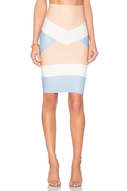 LOLITTA Bandage Tri Color Mini Skirt in Nude & Light Blue & Off White