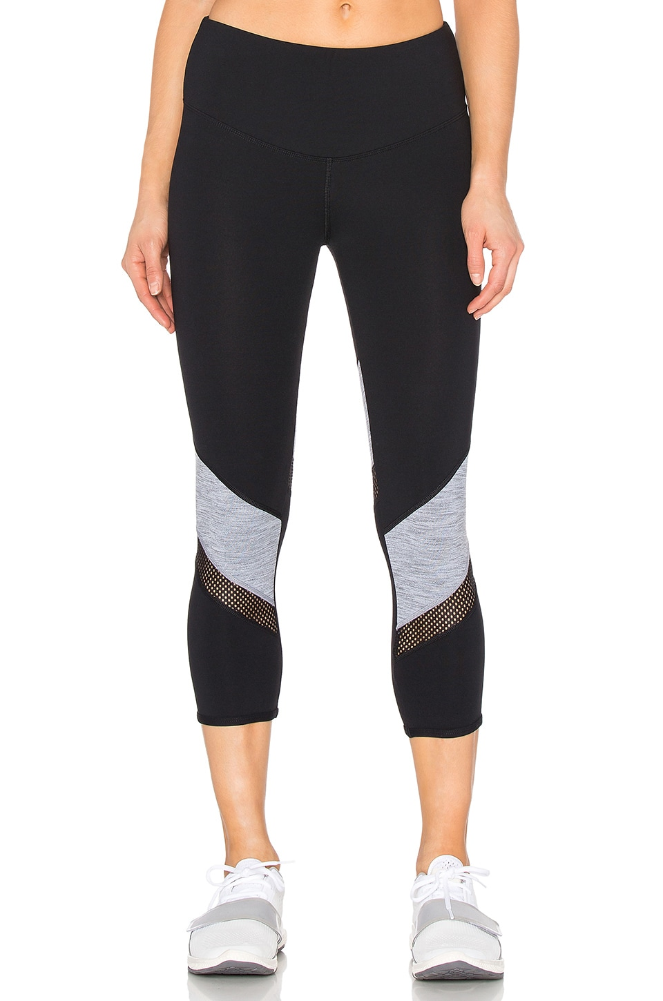 Lorna Jane Stay Strong 7/8 Legging in Black & Mid Grey