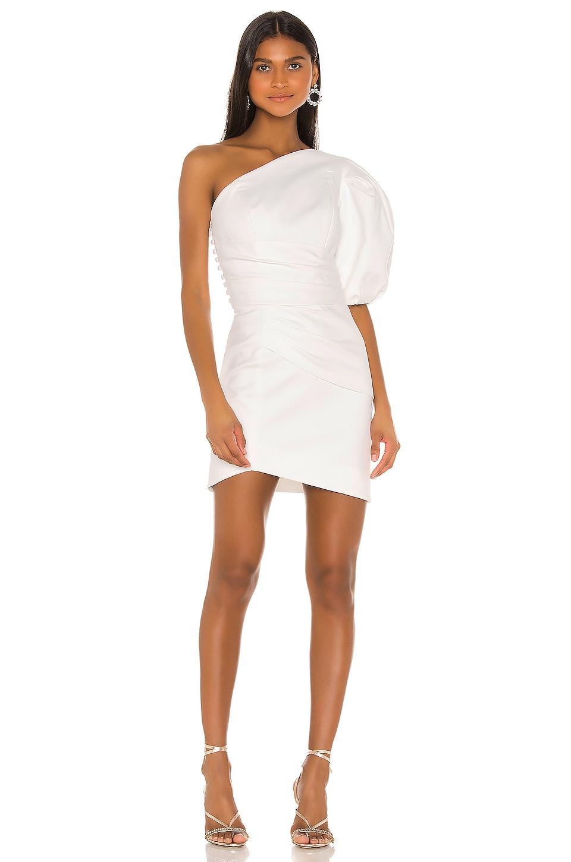 IORANE Supper Cotton One Shoulder Mini Dress in Off White
