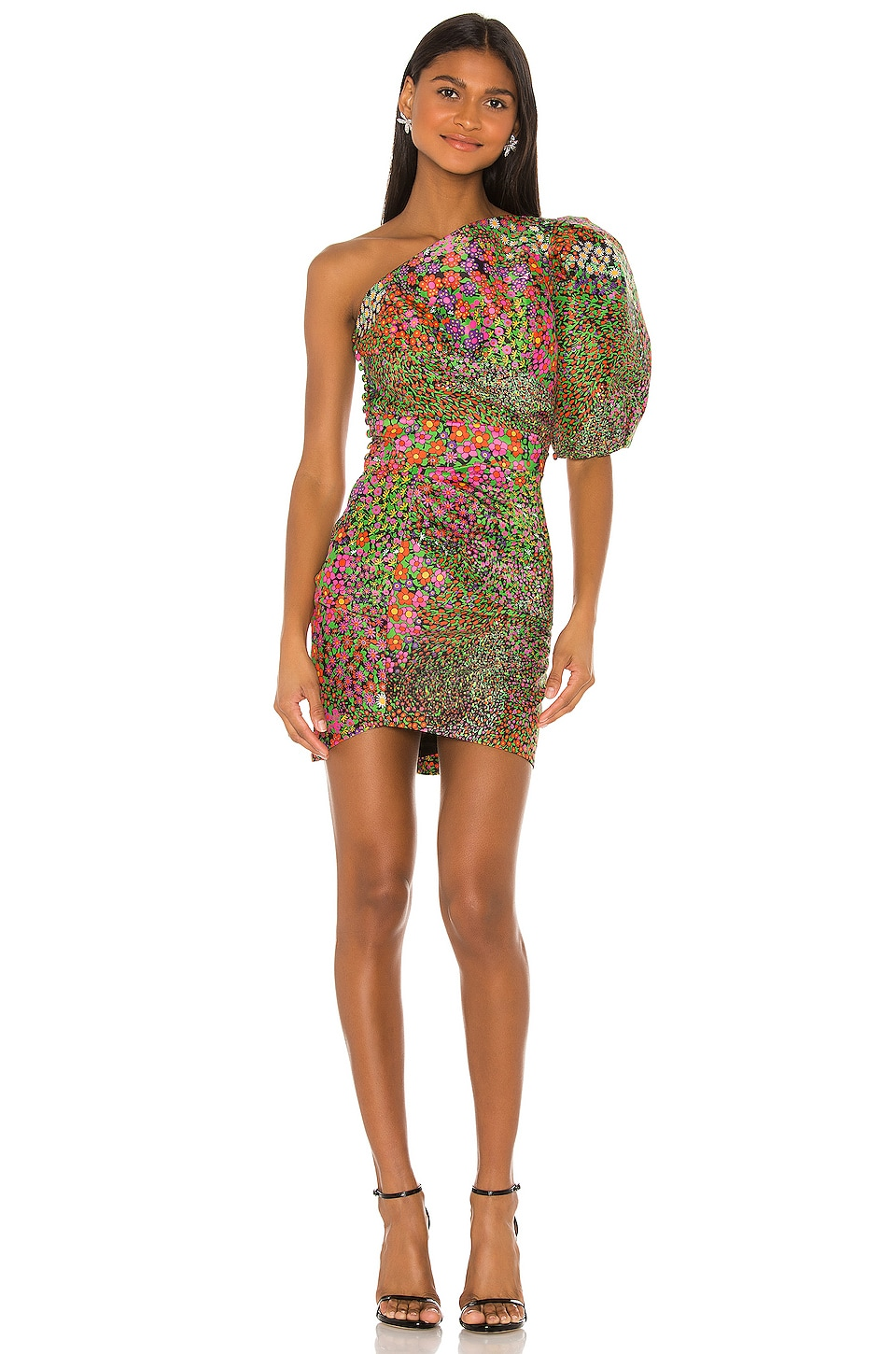 IORANE Floral One Shoulder Mini Dress in Multicolor
