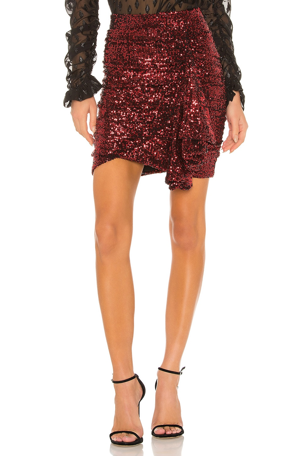 IORANE lORANE Sequin Mini Skirt in Red