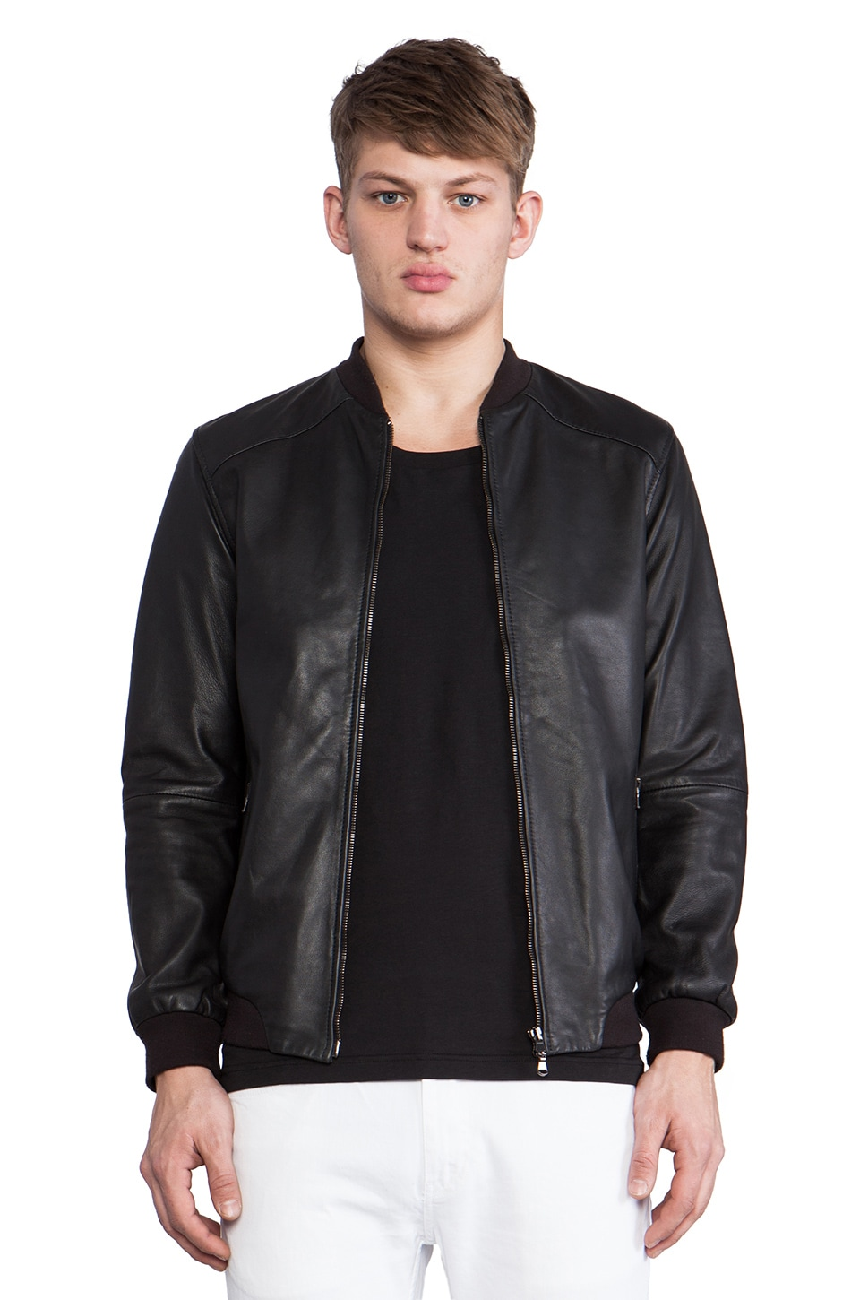 lot78 Leather Bomber in Black