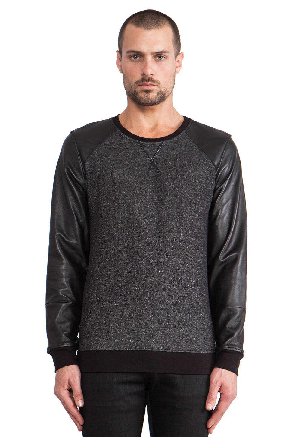 lot78 Leather Sleeve Sweatshirt in Black