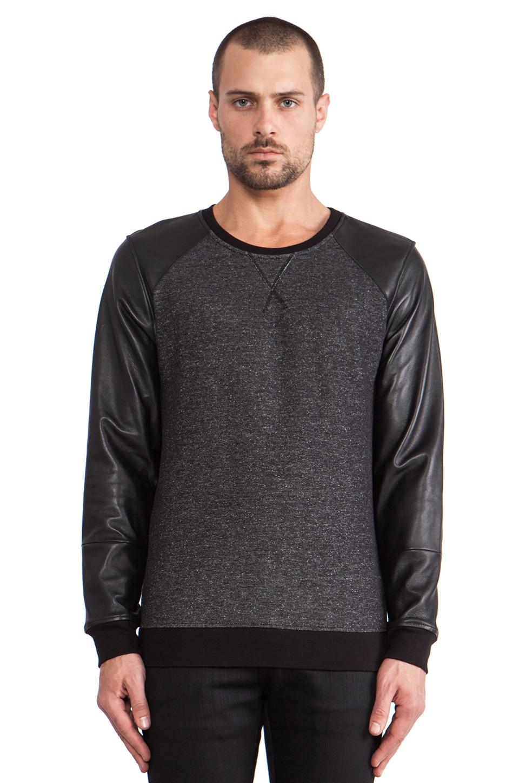 lot78 Leather Sleeve Sweatshirt in Black