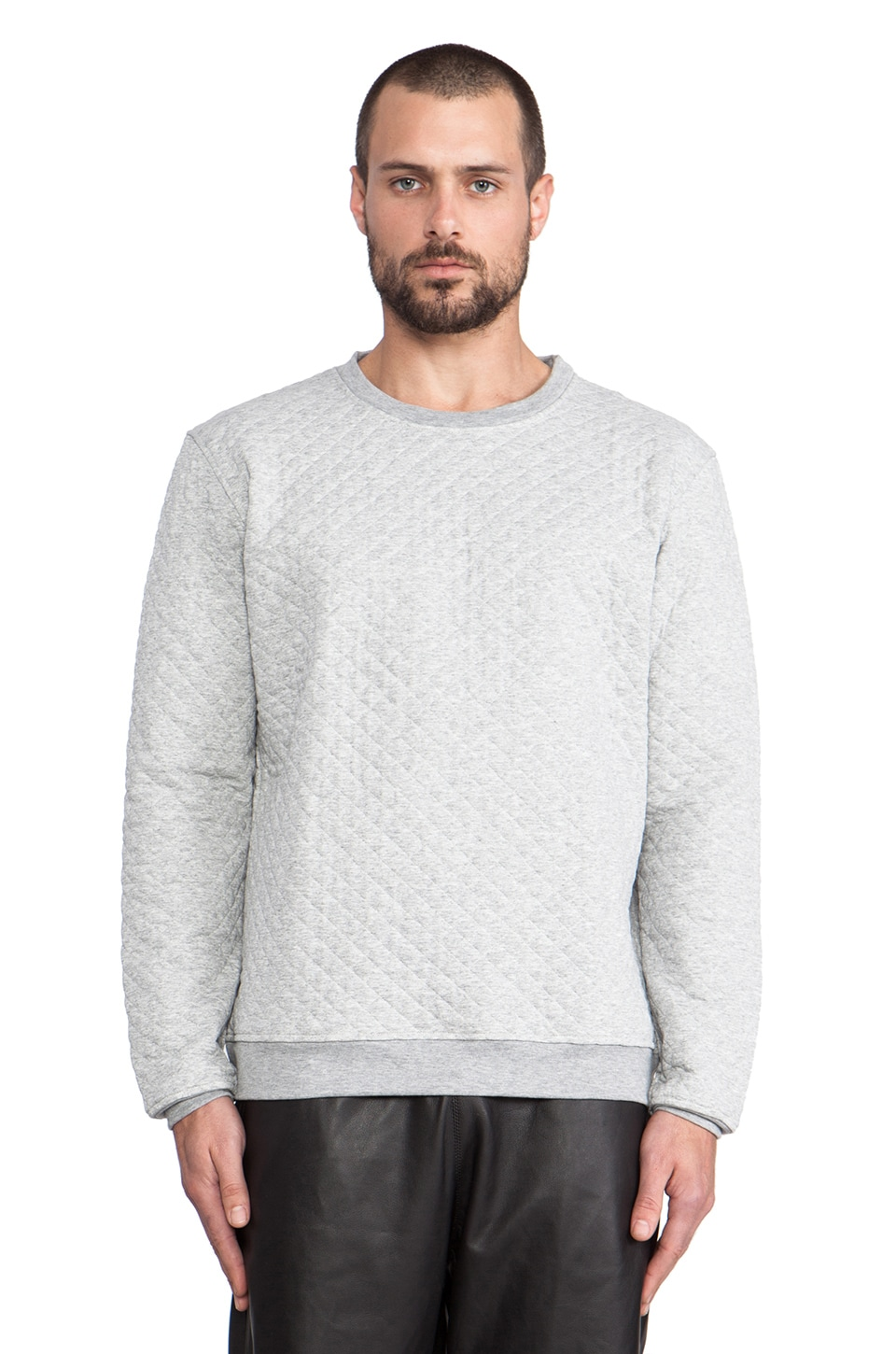 lot78 Quilted Sweatshirt in Grey Melange