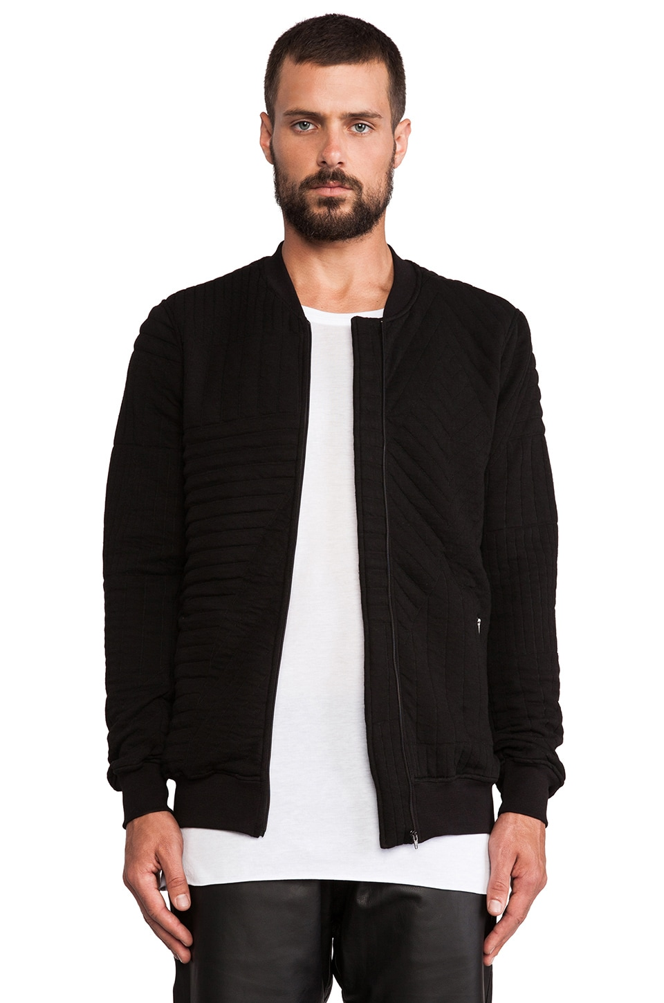 lot78 Quilted Bomber in Black