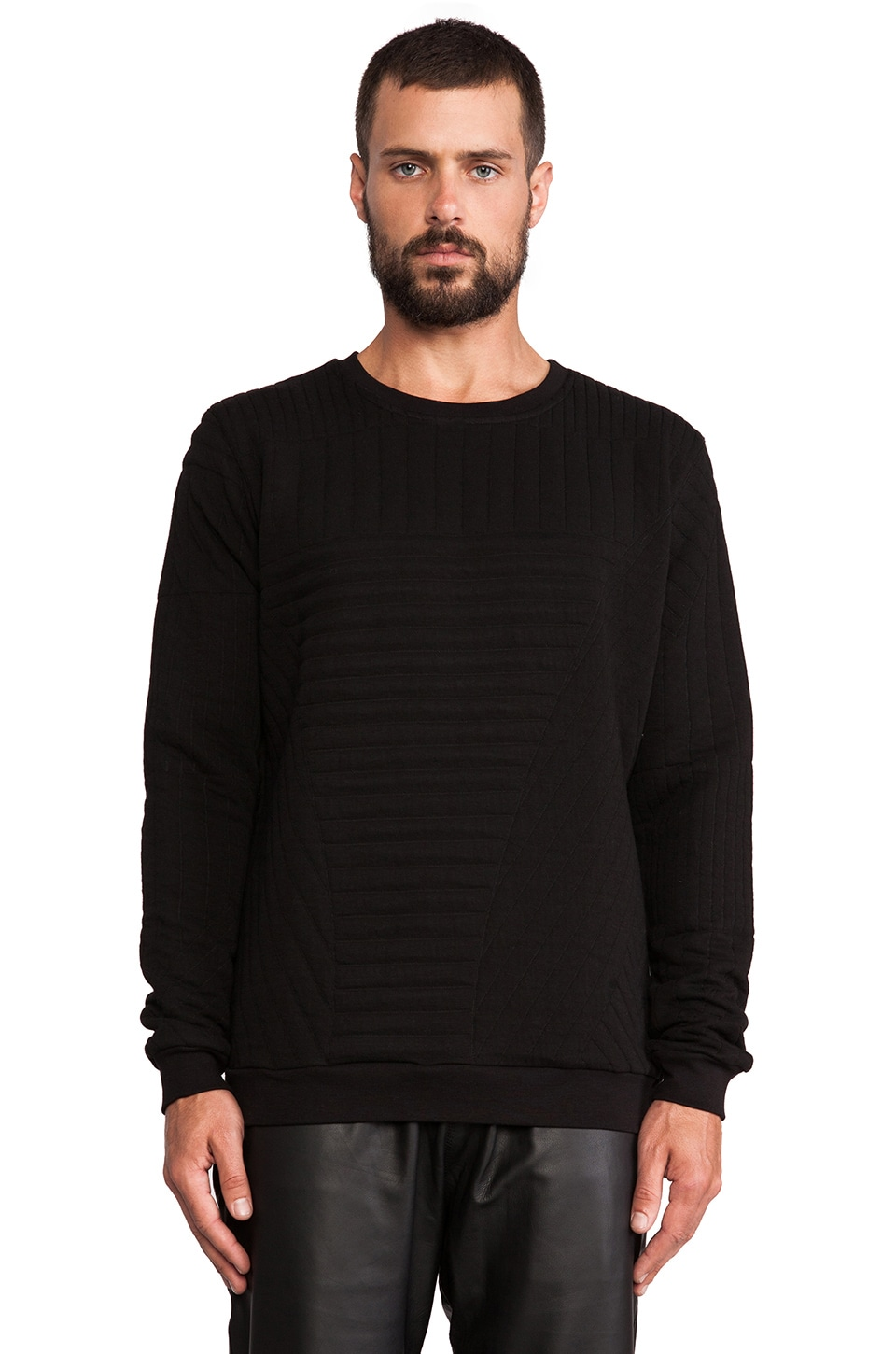 lot78 Quilted Sweatshirt in Black